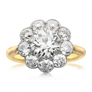 Hancocks Contemporary 3.41ct Old European Brilliant Cut Diamond And Gold Cluster Ring