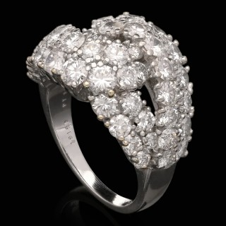 Van Cleef & Arpels 18ct White Gold Pave Diamond Cross Over Ring