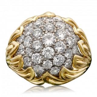 Van Cleef  & Arpels Pavé Diamond Gold Bombe Dress Ring Circa 1959