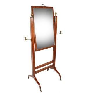 Georgian Mahogany Cheval Mirror