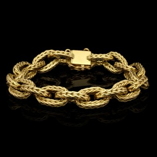 Classic Vintage 18ct Gold Woven Link Bracelet French Circa 1970's