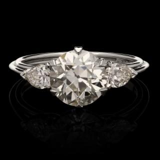 Hancocks 2.02ct Old European Brilliant Cut Diamond Ring Platinum Pear Shaped Shoulders