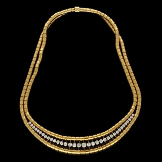 Verges Freres Retro 18ct Yellow Gold and Diamond Necklace Circa 1940