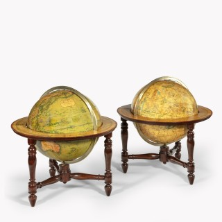 A pair of 12 inch table globes by J & W Newton, dated 1820