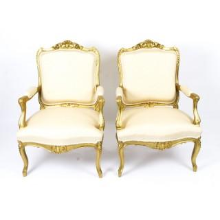 Antique Pair French Louis Revival Giltwood Piece Salon Armchairs 19th Century