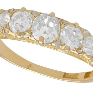 1.64 ct Diamond and 18 ct Yellow Gold Five Stone Ring - Antique Circa 1890