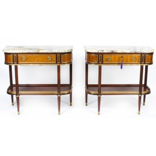 Antique Pair French Ormolu Mounted Console Side Tables 19th C C1880