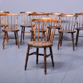 Set of Eight Spar-Back Beech Country Kitchen Chairs