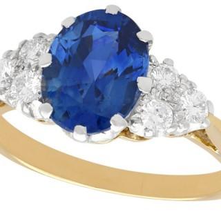 1.72ct Sapphire and 0.26ct Diamond, 18ct Yellow Gold Dress Ring - Vintage Circa 1990