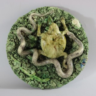 Cunha Palissy Frog & Snake Wall Plate