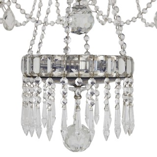 Russian Neoclassical style clear and blue cut glass chandelier