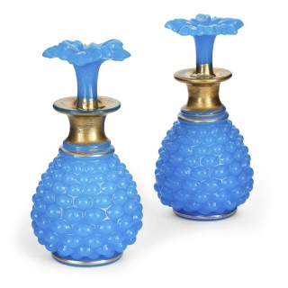 Pair of antique French blue opaline glass bottles with stoppers