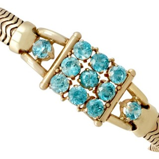 12.59 ct High Zircon and 14 ct Yellow Gold Bracelet - Art Deco Style - Vintage Circa 1945