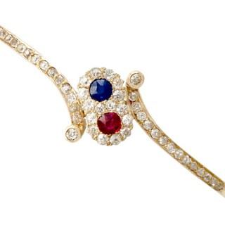 0.45 ct Ruby and Sapphire, 1.50 ct Diamond, 14 ct Yellow Gold Bangle - Antique Circa 1890