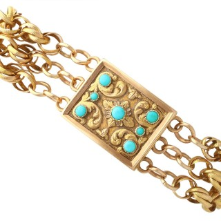 Turquoise and 18 ct Yellow Gold Mourning Locket Bracelet - Antique Circa 1821