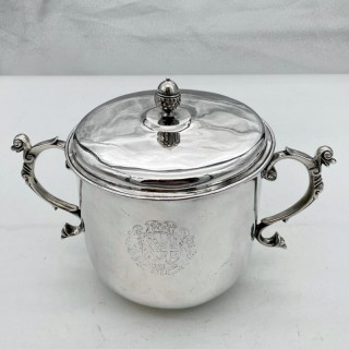 Antique Charles II Silver Large Porringer & Cover London 1684 William Marchant