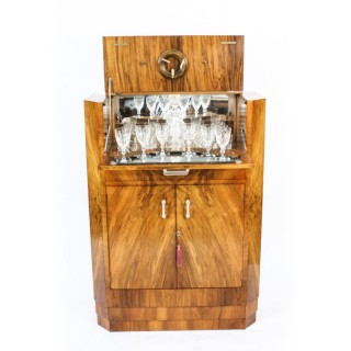 Antique Art Deco Burr Walnut Cocktail Cabinet Dry Bar & Glassware c.1920