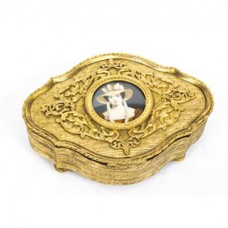 Antique Gilt Bronze Jewellery Casket & Miniature c.1870