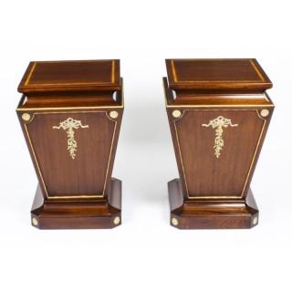 Antique Pair Georgian Revival Mahogany and Giltwood Low Pedestals C1880 19th C