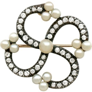 1.50 ct Diamond and Pearl, 9 ct Yellow Gold Brooch - Antique Victorian
