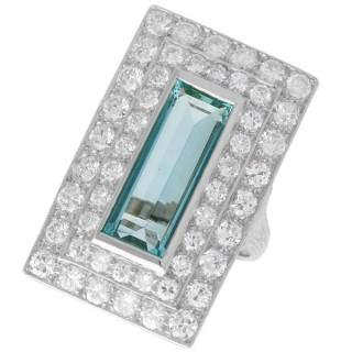 3.51ct Aquamarine and 3.72ct Diamond Platinum Dress Ring - Vintage Circa 1940