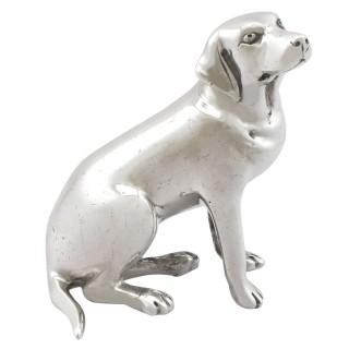 Sterling Silver Model of a Labrador - Vintage Elizabeth II (1986)