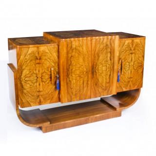 Antique Art Deco Burr Walnut Sideboard att. Epstein C1920