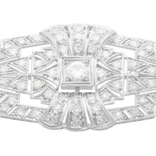 2.16ct Diamond and Platinum Art Deco Brooch - Antique Circa 1925