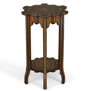 Antique traditional Syrian geometrical marquetry side table