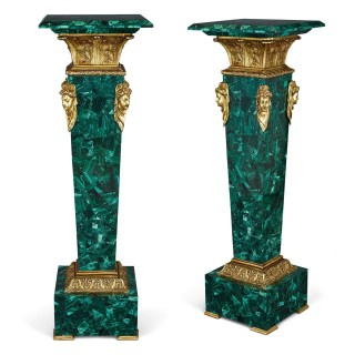 Pair of Neoclassical style gilt bronze and malachite column pedestals