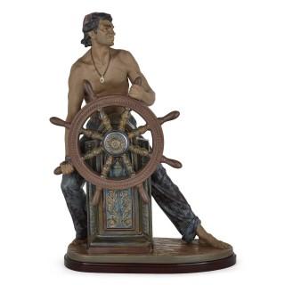 Glazed ceramic sculpture of a helmsman by Spanish maker Lladró