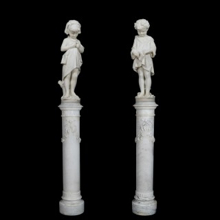 A Pair of Marble Figures By Pietro Bazzanti