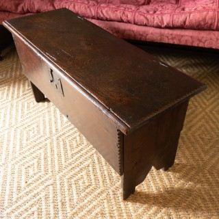 A good and small Charles I oak boarded chest, West Country, circa 1640