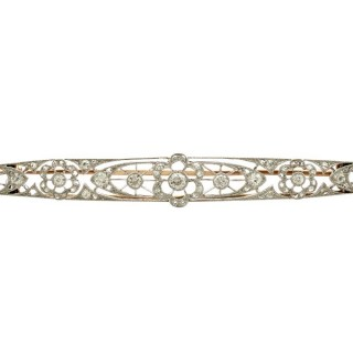 1.17 ct Diamond and 12 ct Yellow Gold Brooch - Antique Circa 1910