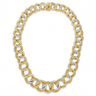 Georges Lenfant French Vintage 18ct Two Colour Gold Woven Circles Necklace