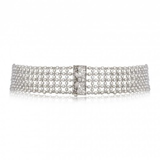 Belle Epoque Platinum Natural Seed Pearl Diamond Choker Convertible To Bracelets