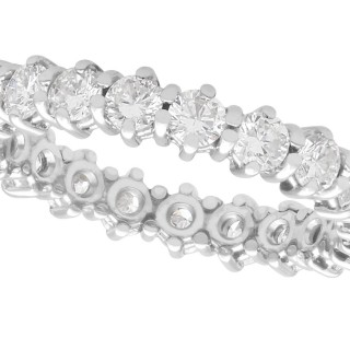 1ct Diamond and 14ct White Gold Full Eternity Ring - Vintage Circa 1970