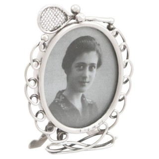 Sterling Silver Tennis Photograph Frame - Antique Victorian (1895)