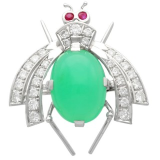 8.09ct Chrysophrase and 1.26ct Diamond and Ruby, 14ct White Gold Insect Brooch - Vintage European Circa 1950