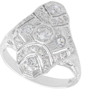 1.18ct Diamond and 14ct White Gold Dress Ring - Antique Circa 1930