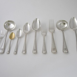 Antique Victorian Sterling Silver Canteen of Cutlery - 1890