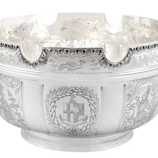 Sterling Silver Monteith Bowl - Antique Edwardian (1905)