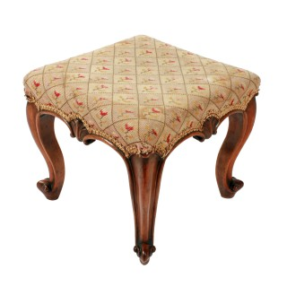 Victorian Walnut Cabriole Leg Stool