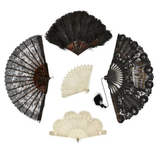 Group of five antique French and Spanish fans