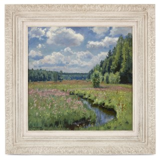 Russian Impressionist painting of a meadow by Zhukovsky