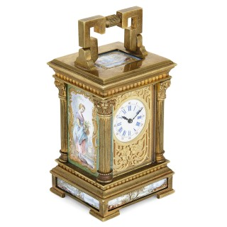 Antique French gilt bronze and enamel miniature carriage clock