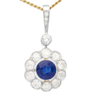 0.80ct Sapphire and 0.82ct Diamond, 14 ct Yellow Gold Pendant - Antique Circa 1920