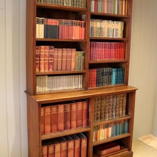 Solid Oak Open Cabinet Bookcase