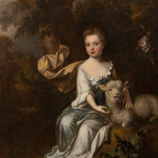 Attributed to John Closterman (1660-1711). 17th century English portrait of a young girl with a lamp in a woodland landscape