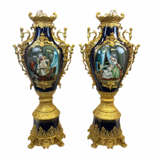 LARGE PAIR OF PORCELAIN AND GILT METAL VASES